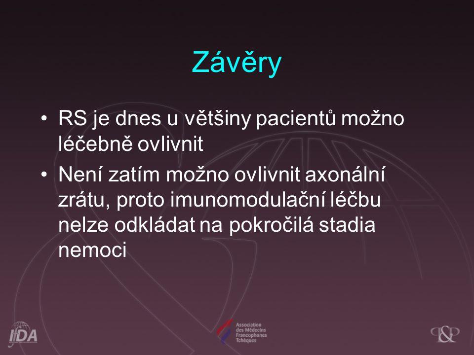 Závěry RS je dnes u většiny pacientů možno léčebně ovlivnit Není zatím možno ovlivnit axonální zrátu, proto imunomodulační léčbu nelze odkládat na pok