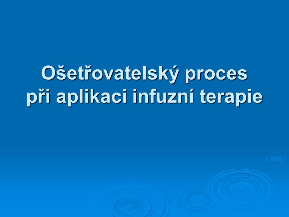 Ošetřovatelský proces při aplikaci infuzní terapie