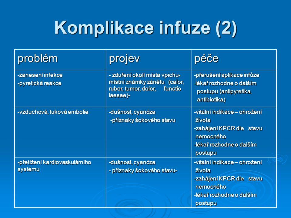 Komplikace infuze (2) problémprojevpéče -zanesení infekce -pyretická reakce - zduření okolí místa vpichu- místní známky zánětu (calor, rubor, tumor, d