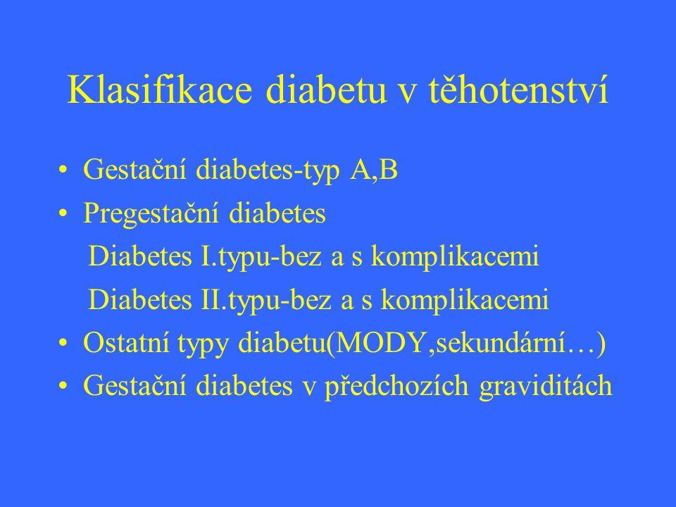 Klasifikace diabetu v těhotenství Gestační diabetes-typ A,B Pregestační diabetes Diabetes I.typu-bez a s komplikacemi Diabetes II.typu-bez a s komplik