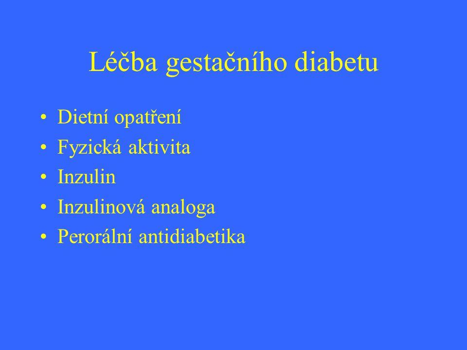 Léčba gestačního diabetu Dietní opatření Fyzická aktivita Inzulin Inzulinová analoga Perorální antidiabetika