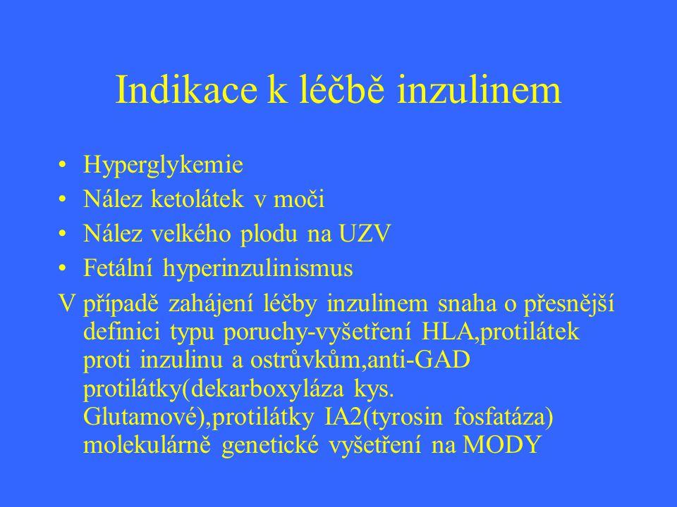 Indikace k léčbě inzulinem Hyperglykemie Nález ketolátek v moči Nález velkého plodu na UZV Fetální hyperinzulinismus V případě zahájení léčby inzuline