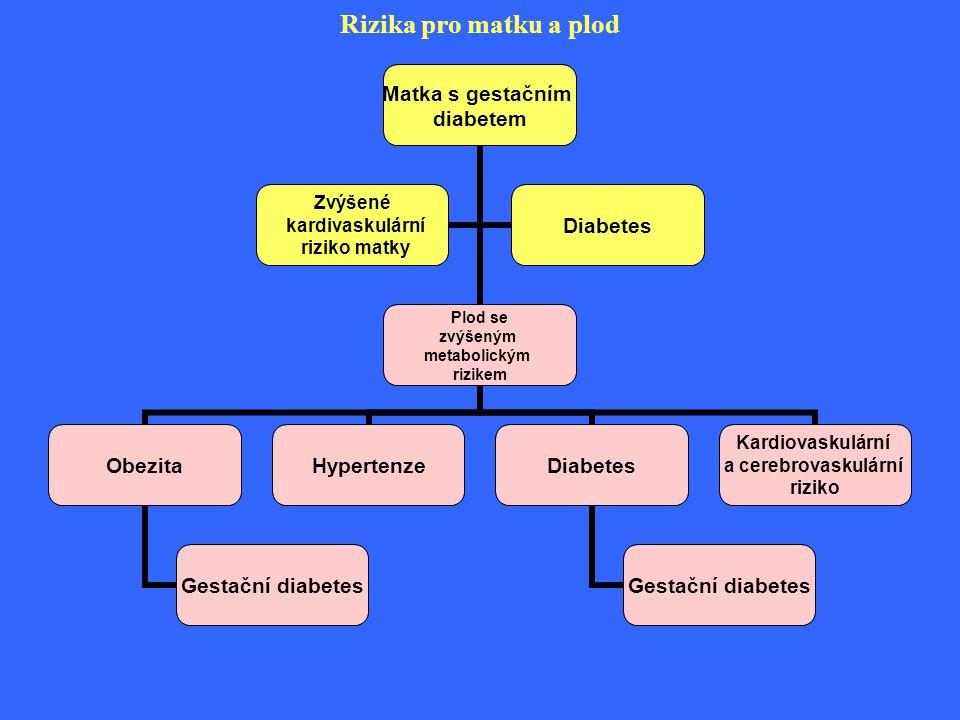 Rizika pro matku a plod Matka s gestačním diabetem Plod se zvýšeným metabolickým rizikem Obezita Gestační diabetes HypertenzeDiabetes Gestační diabete