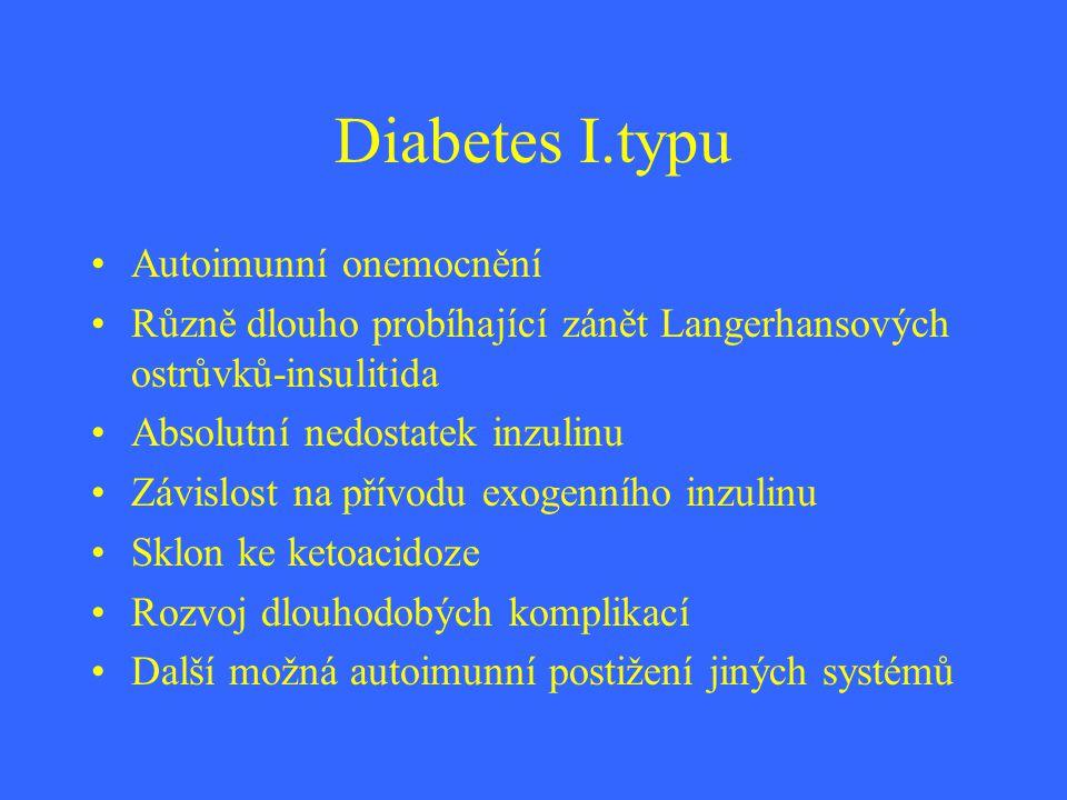 Diabetes I.typu Autoimunní onemocnění Různě dlouho probíhající zánět Langerhansových ostrůvků-insulitida Absolutní nedostatek inzulinu Závislost na př