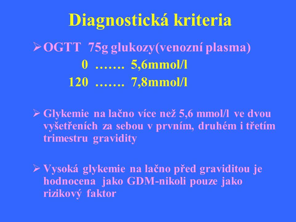 Diagnostická kriteria  OGTT 75g glukozy(venozní plasma) 0 ……. 5,6mmol/l 120 ……. 7,8mmol/l  Glykemie na lačno více než 5,6 mmol/l ve dvou vyšetřeních