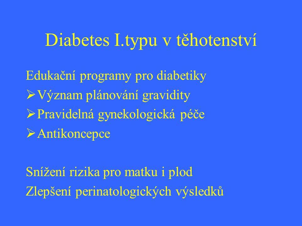 Diabetes I.typu Rizika pro matku Hypertenze,preeklampsie,předčasný porod, Porod hypertrofického plodu,infekční komplikace,zhoršení diabetických komplikací,akutní metabolické komplikace Rizika pro plod Vrozené vývojové vady,poruchy psychomotorického vývoje,nezralost,hypertrofický plod,diabetes