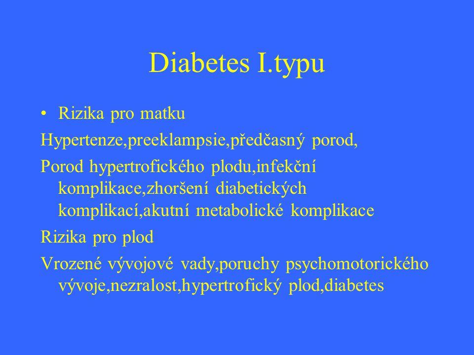 Diabetes I.typu Rizika pro matku Hypertenze,preeklampsie,předčasný porod, Porod hypertrofického plodu,infekční komplikace,zhoršení diabetických kompli