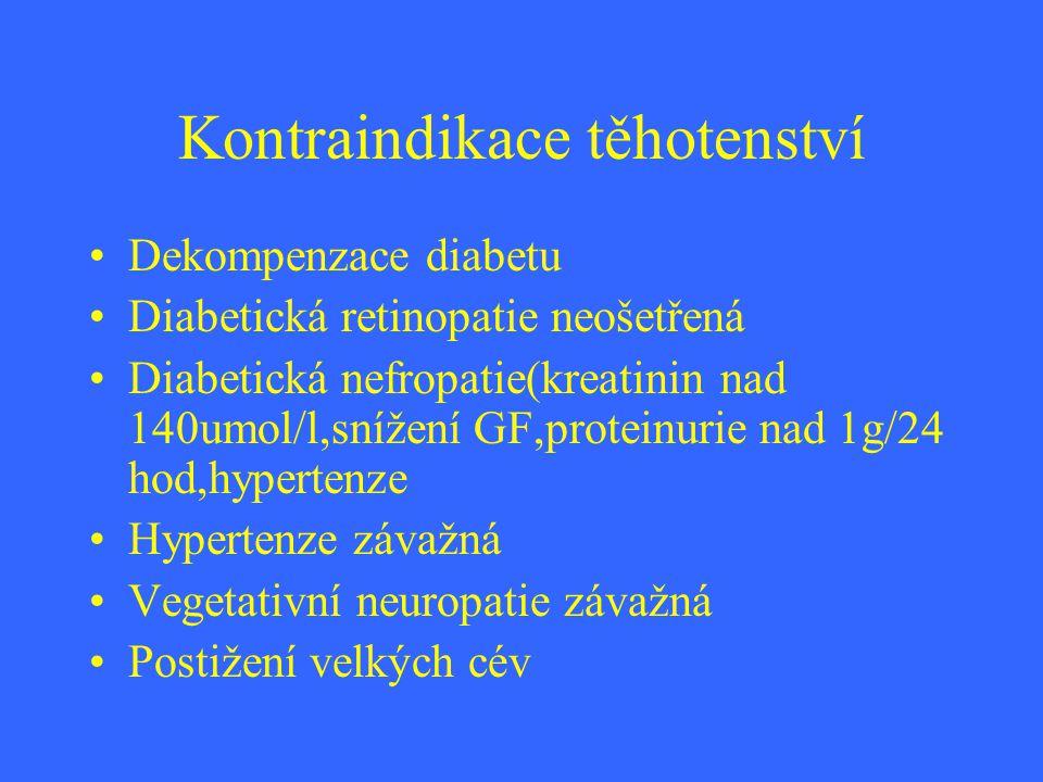 Kontraindikace těhotenství Dekompenzace diabetu Diabetická retinopatie neošetřená Diabetická nefropatie(kreatinin nad 140umol/l,snížení GF,proteinurie