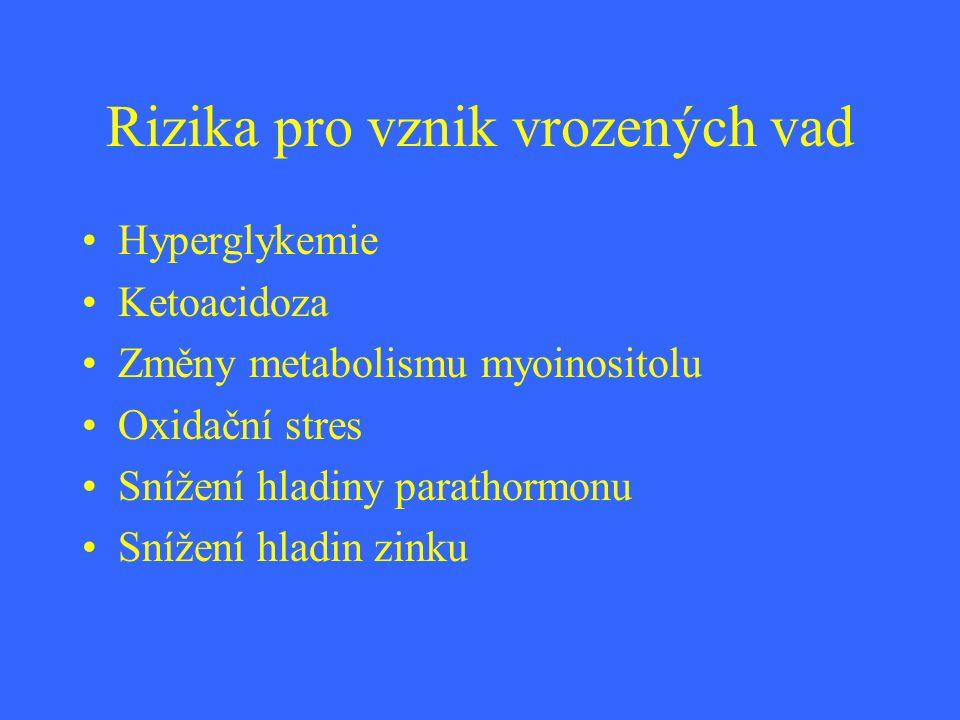 Rizika pro vznik vrozených vad Hyperglykemie Ketoacidoza Změny metabolismu myoinositolu Oxidační stres Snížení hladiny parathormonu Snížení hladin zin