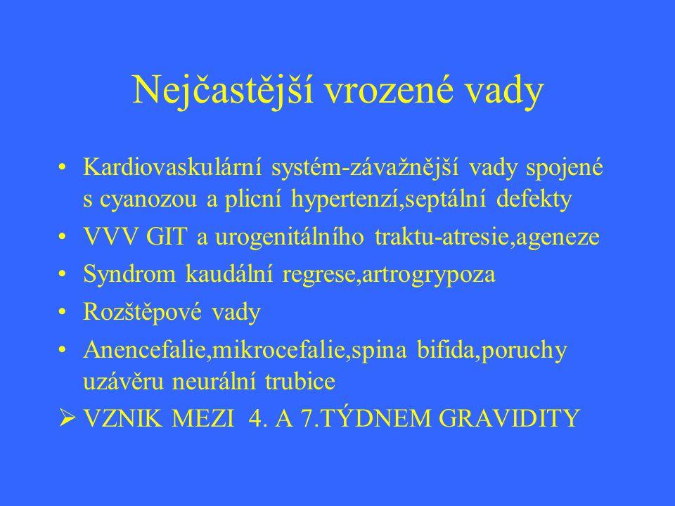 Nejčastější vrozené vady Kardiovaskulární systém-závažnější vady spojené s cyanozou a plicní hypertenzí,septální defekty VVV GIT a urogenitálního trak