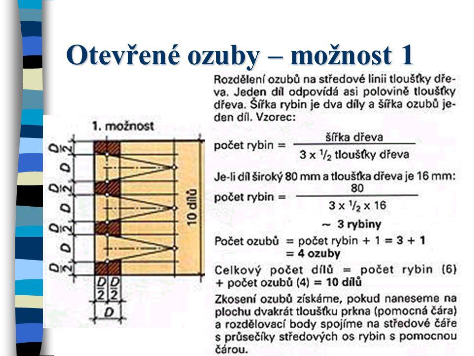 Jednoduchý ozubový spoj (otevřené ozuby) U jednoduchého spoje na ozuby, nazývaného též otevřený ozubový spoj, jsou ozuby a rybiny vidět.