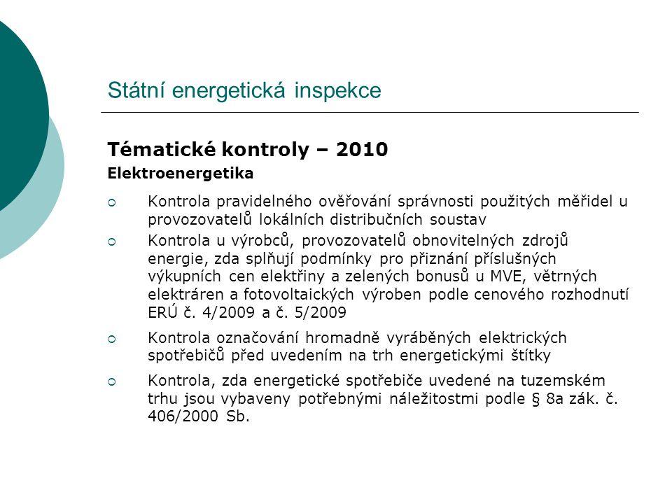 Státní energetická inspekce Tématické kontroly – 2010 Elektroenergetika  Kontrola pravidelného ověřování správnosti použitých měřidel u provozovatelů