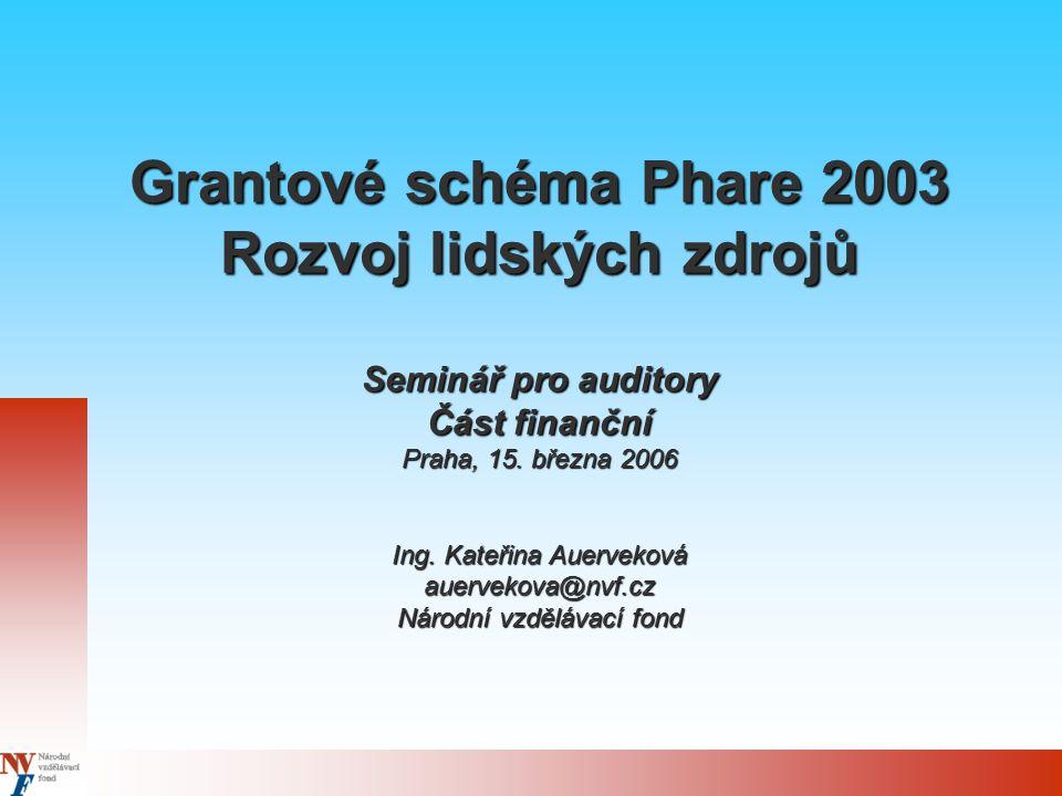 Grantové schéma Phare 2003 Rozvoj lidských zdrojů Seminář pro auditory Část finanční Praha, 15.