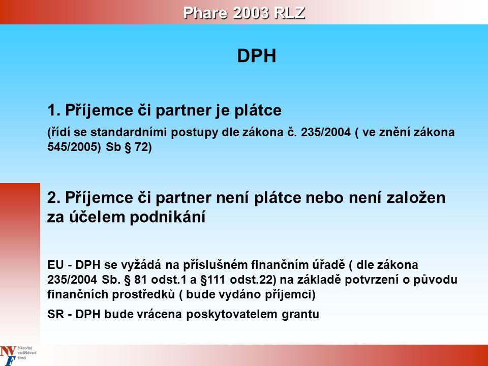 Phare 2003 RLZ DPH 1. Příjemce či partner je plátce (řídí se standardními postupy dle zákona č.