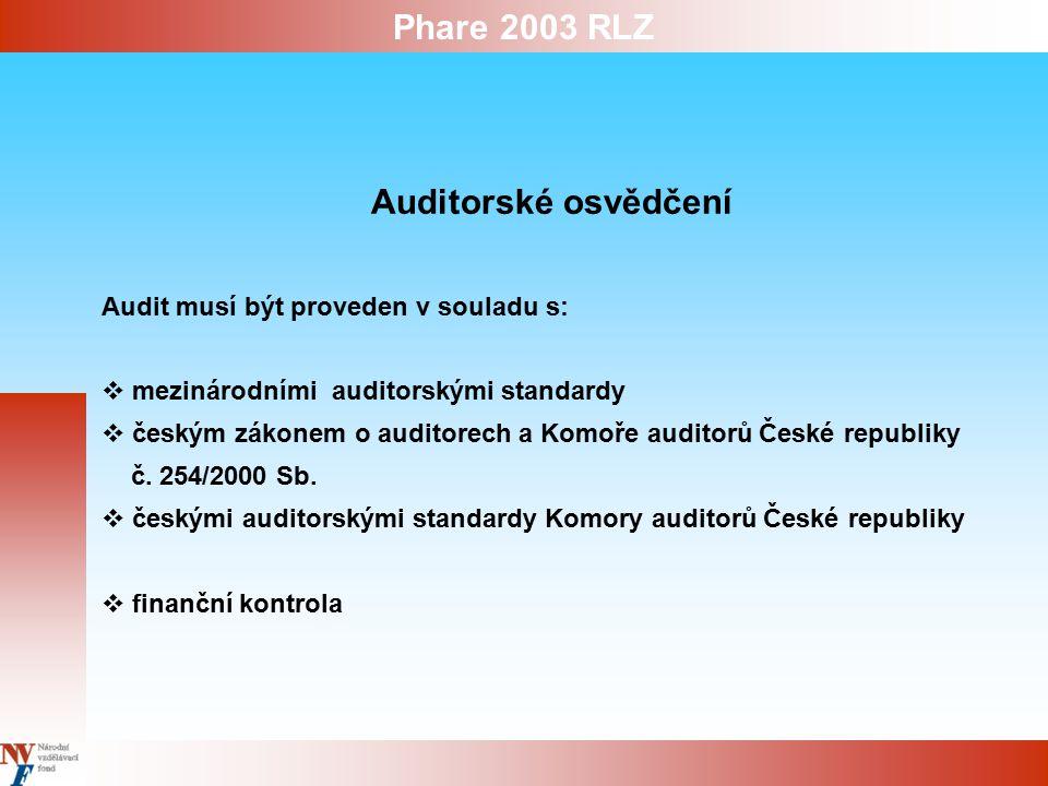 Phare 2003 RLZ Auditorské osvědčení Audit musí být proveden v souladu s:  mezinárodními auditorskými standardy  českým zákonem o auditorech a Komoře auditorů České republiky č.