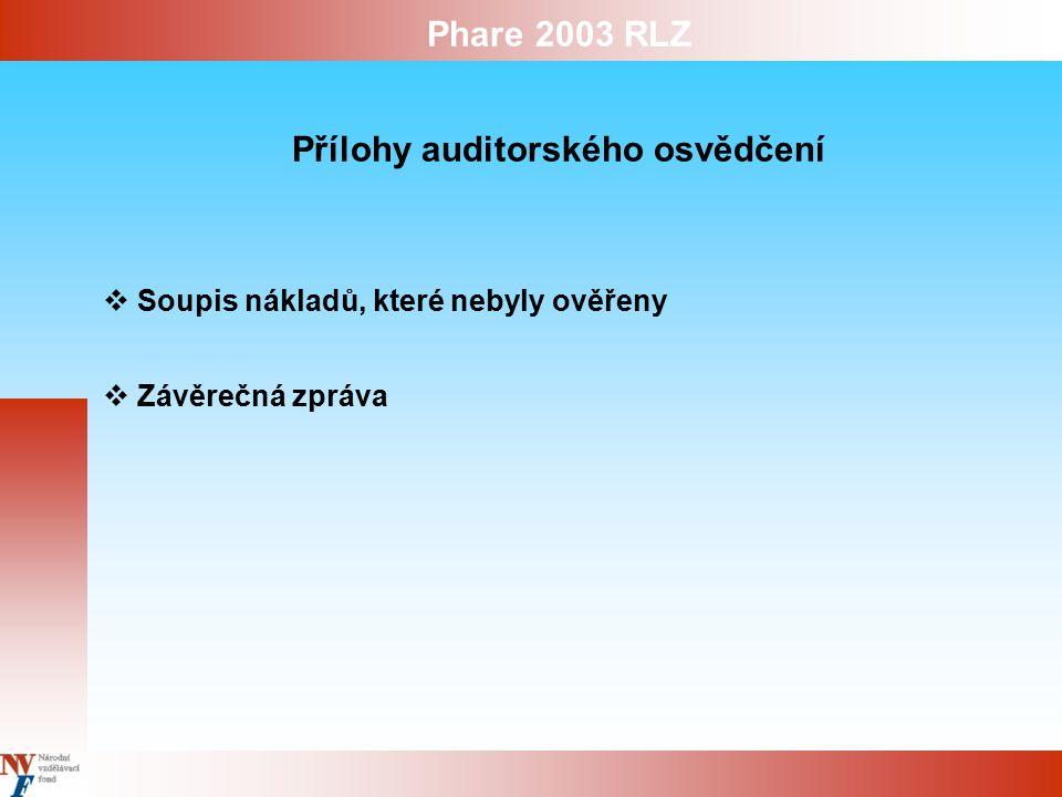Phare 2003 RLZ Přílohy auditorského osvědčení  Soupis nákladů, které nebyly ověřeny  Závěrečná zpráva