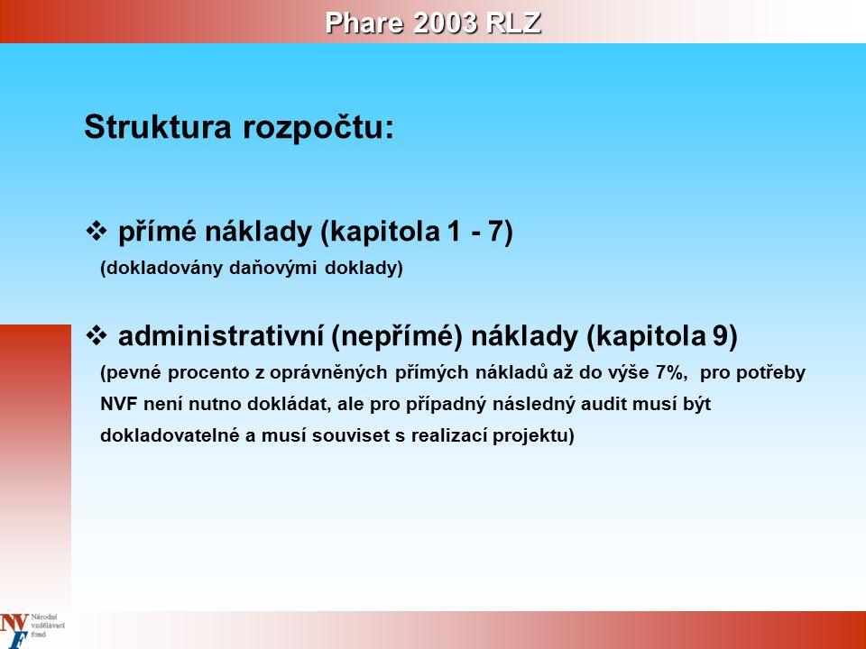 Phare 2003 RLZ Struktura rozpočtu:  přímé náklady (kapitola 1 - 7) (dokladovány daňovými doklady)  administrativní (nepřímé) náklady (kapitola 9) (pevné procento z oprávněných přímých nákladů až do výše 7%, pro potřeby NVF není nutno dokládat, ale pro případný následný audit musí být dokladovatelné a musí souviset s realizací projektu)