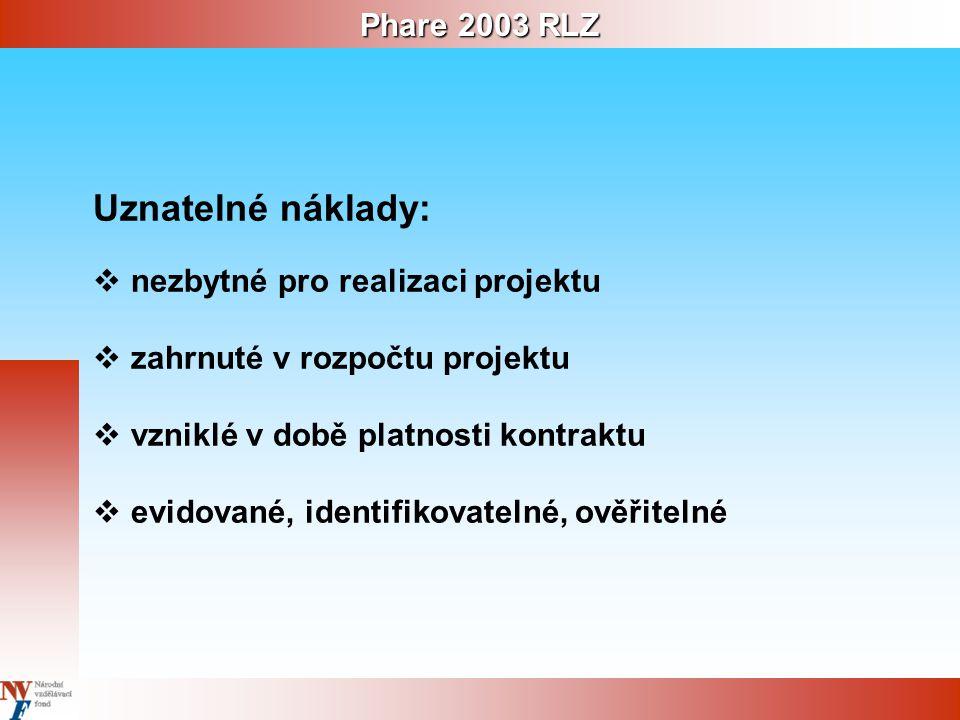 Phare 2003 RLZ Uznatelné náklady:  nezbytné pro realizaci projektu  zahrnuté v rozpočtu projektu  vzniklé v době platnosti kontraktu  evidované, identifikovatelné, ověřitelné