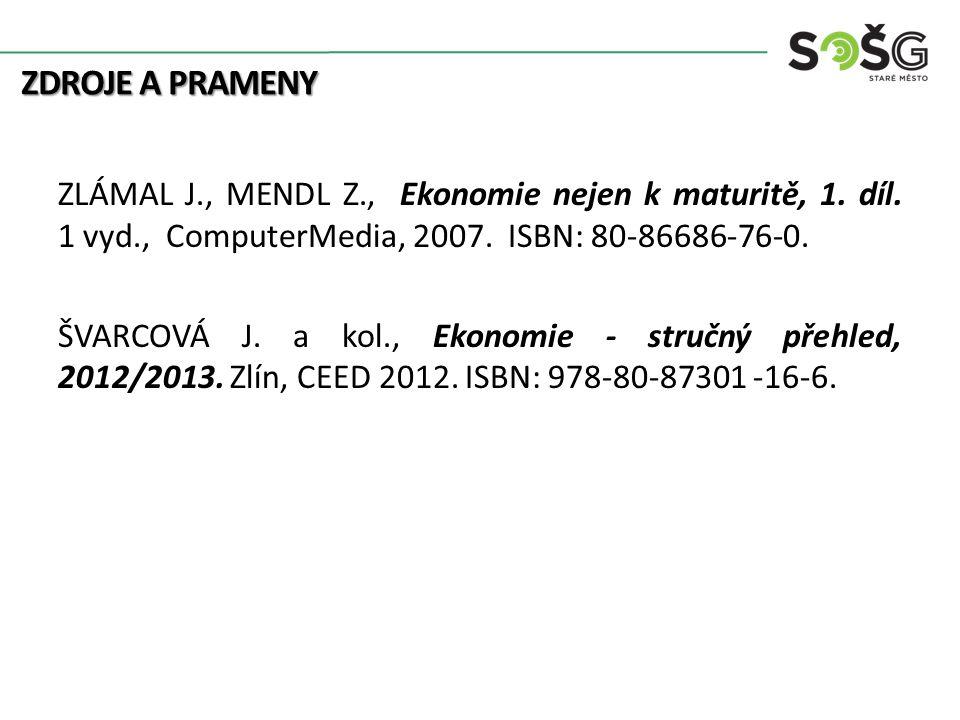ZDROJE A PRAMENY ZLÁMAL J., MENDL Z., Ekonomie nejen k maturitě, 1. díl. 1 vyd., ComputerMedia, 2007. ISBN: 80-86686-76-0. ŠVARCOVÁ J. a kol., Ekonomi