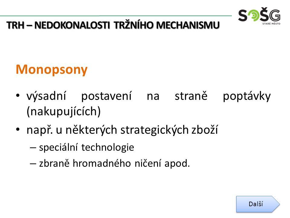 TRH – NEDOKONALOSTI TRŽNÍHO MECHANISMU Monopsony výsadní postavení na straně poptávky (nakupujících) např.