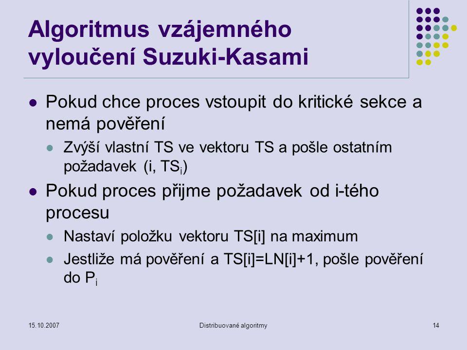 15.10.2007Distribuované algoritmy14 Algoritmus vzájemného vyloučení Suzuki-Kasami Pokud chce proces vstoupit do kritické sekce a nemá pověření Zvýší vlastní TS ve vektoru TS a pošle ostatním požadavek (i, TS i ) Pokud proces přijme požadavek od i-tého procesu Nastaví položku vektoru TS[i] na maximum Jestliže má pověření a TS[i]=LN[i]+1, pošle pověření do P i