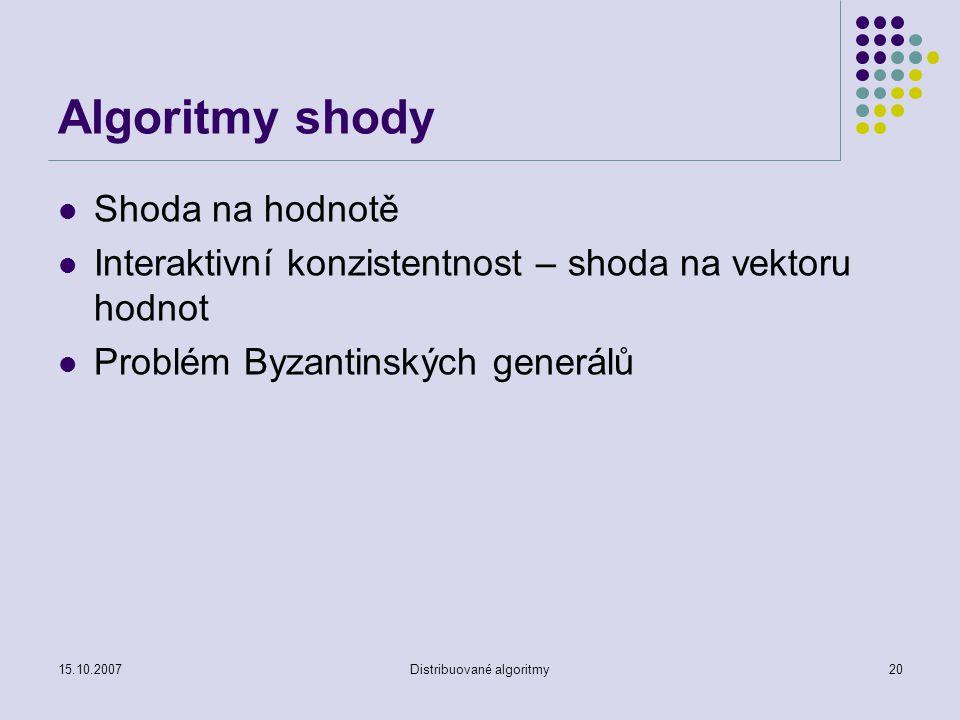 15.10.2007Distribuované algoritmy20 Algoritmy shody Shoda na hodnotě Interaktivní konzistentnost – shoda na vektoru hodnot Problém Byzantinských generálů