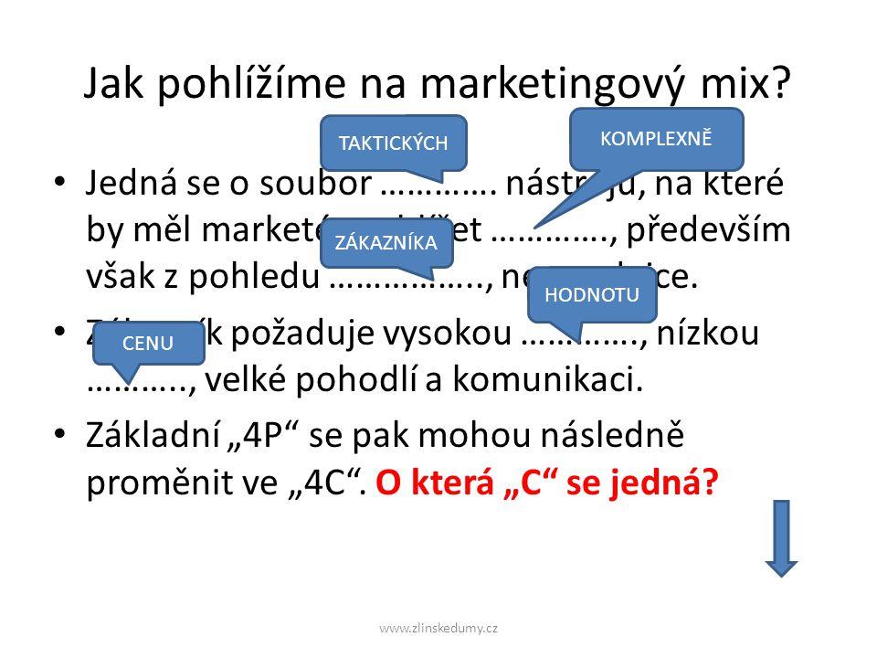 Jak pohlížíme na marketingový mix. Jedná se o soubor ………….