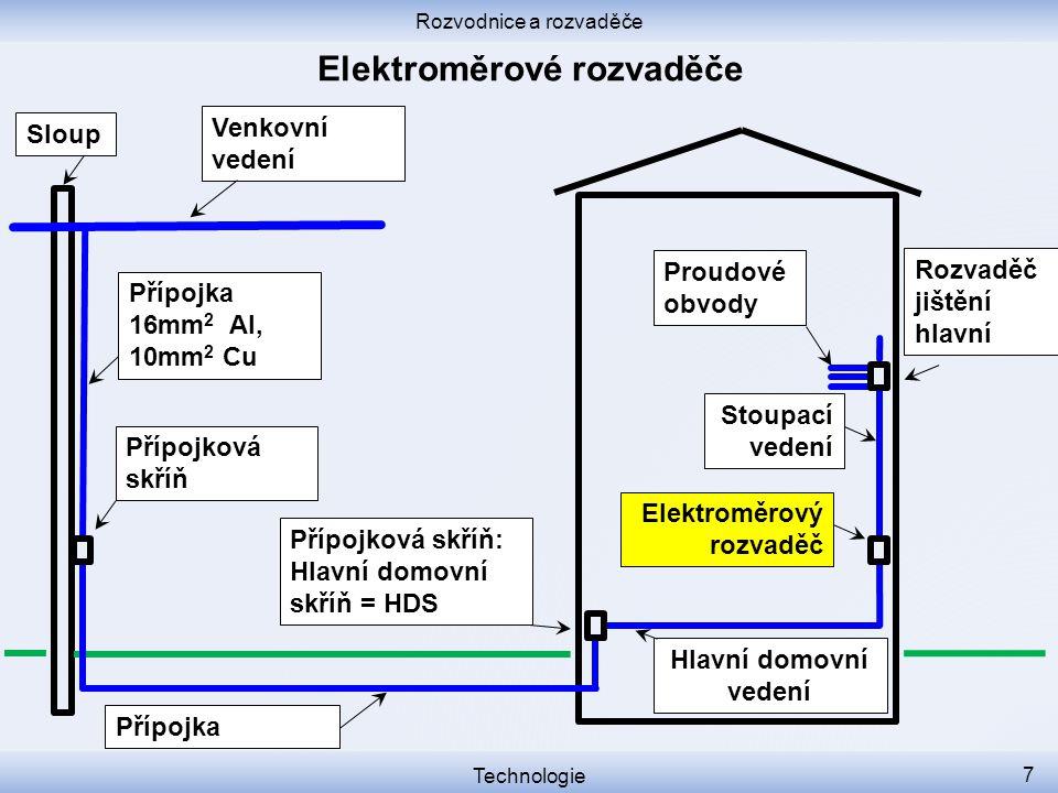 Rozvodnice a rozvaděče Technologie 7 Přípojková skříň Přípojková skříň: Hlavní domovní skříň = HDS Venkovní vedení Sloup Elektroměrový rozvaděč Proudo