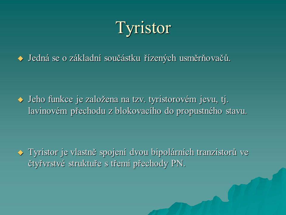 Tyristor  Tyto přechody ovlivňují činnost součástky ve třech základních stavech, které jsou:  závěrný stav  blokovací (vypnutý) stav  propustný (sepnutý) stav  V praxi je možné konstruovat tyristory typu PNPN a NPNP.