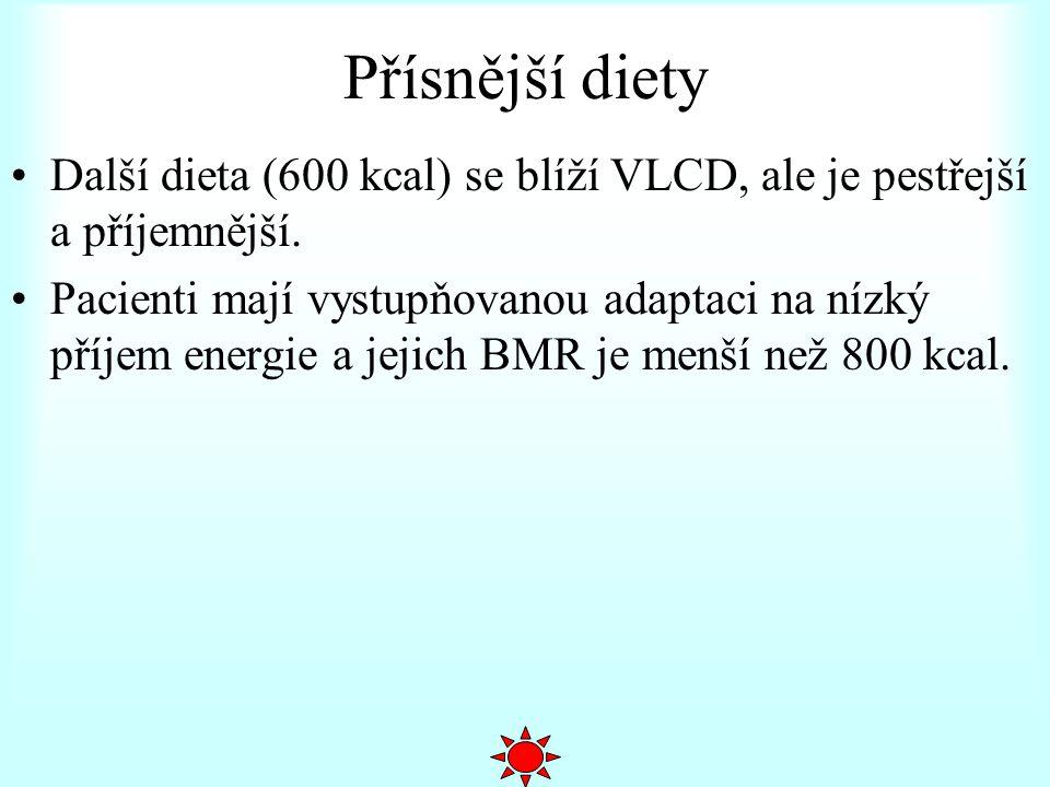 Přísnější diety Další dieta (600 kcal) se blíží VLCD, ale je pestřejší a příjemnější. Pacienti mají vystupňovanou adaptaci na nízký příjem energie a j