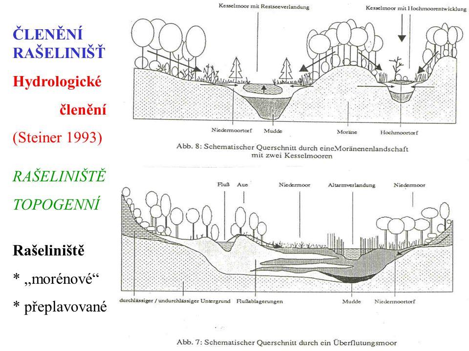 """ČLENĚNÍ RAŠELINIŠŤ Hydrologické členění (Steiner 1993) Rašeliniště * """"morénové * přeplavované RAŠELINIŠTĚ TOPOGENNÍ"""