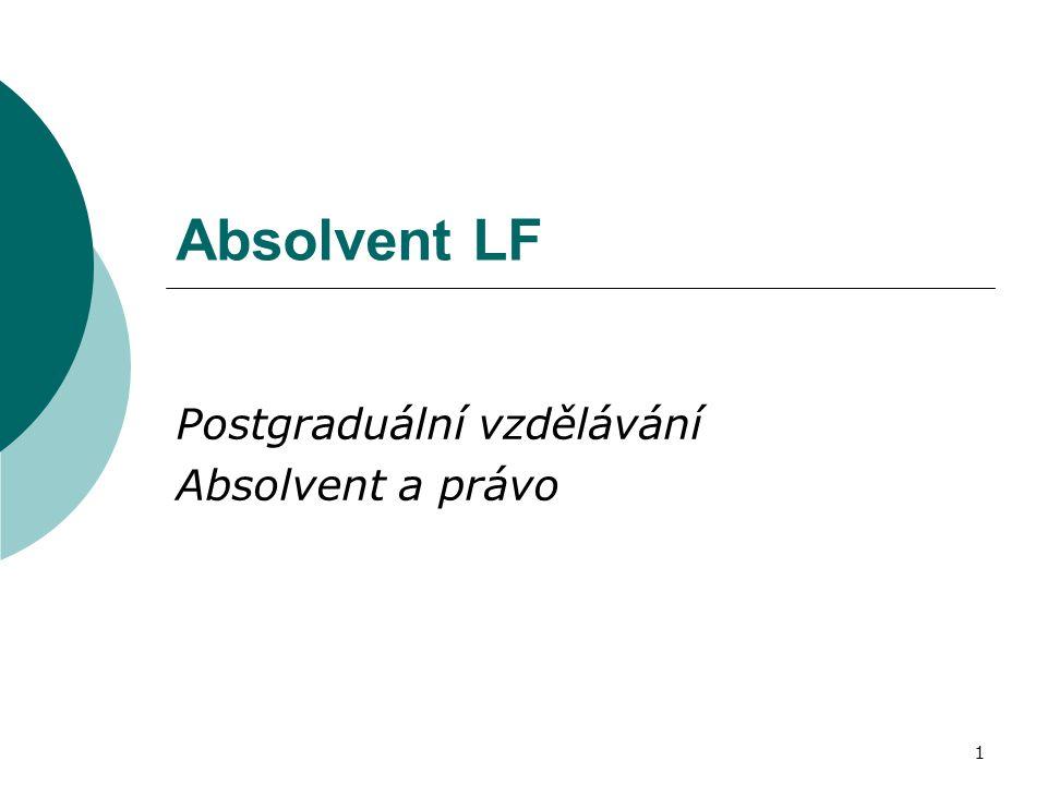1 Absolvent LF Postgraduální vzdělávání Absolvent a právo