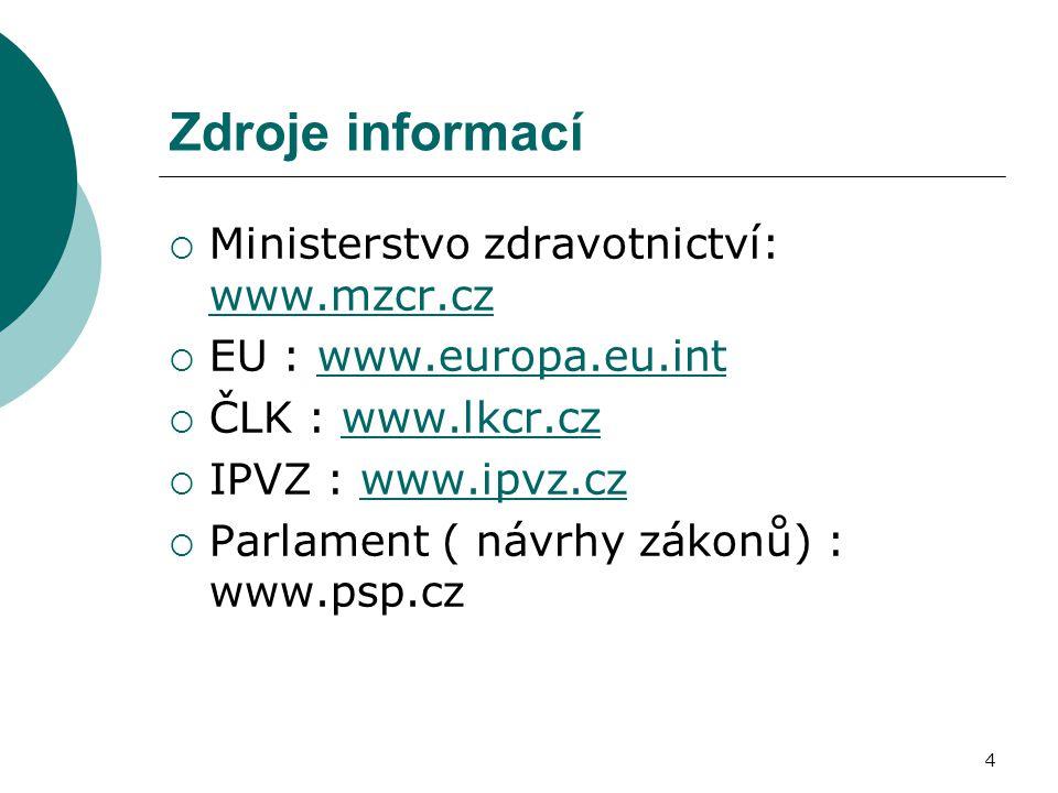 4 Zdroje informací  Ministerstvo zdravotnictví: www.mzcr.cz www.mzcr.cz  EU : www.europa.eu.intwww.europa.eu.int  ČLK : www.lkcr.czwww.lkcr.cz  IP