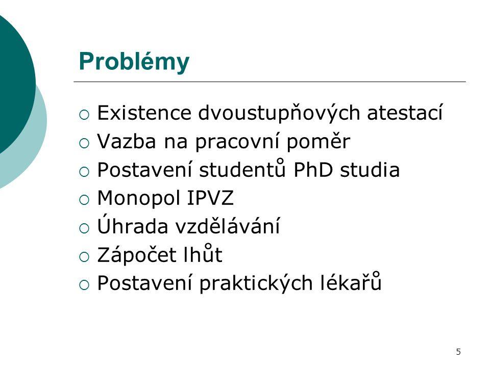 5 Problémy  Existence dvoustupňových atestací  Vazba na pracovní poměr  Postavení studentů PhD studia  Monopol IPVZ  Úhrada vzdělávání  Zápočet