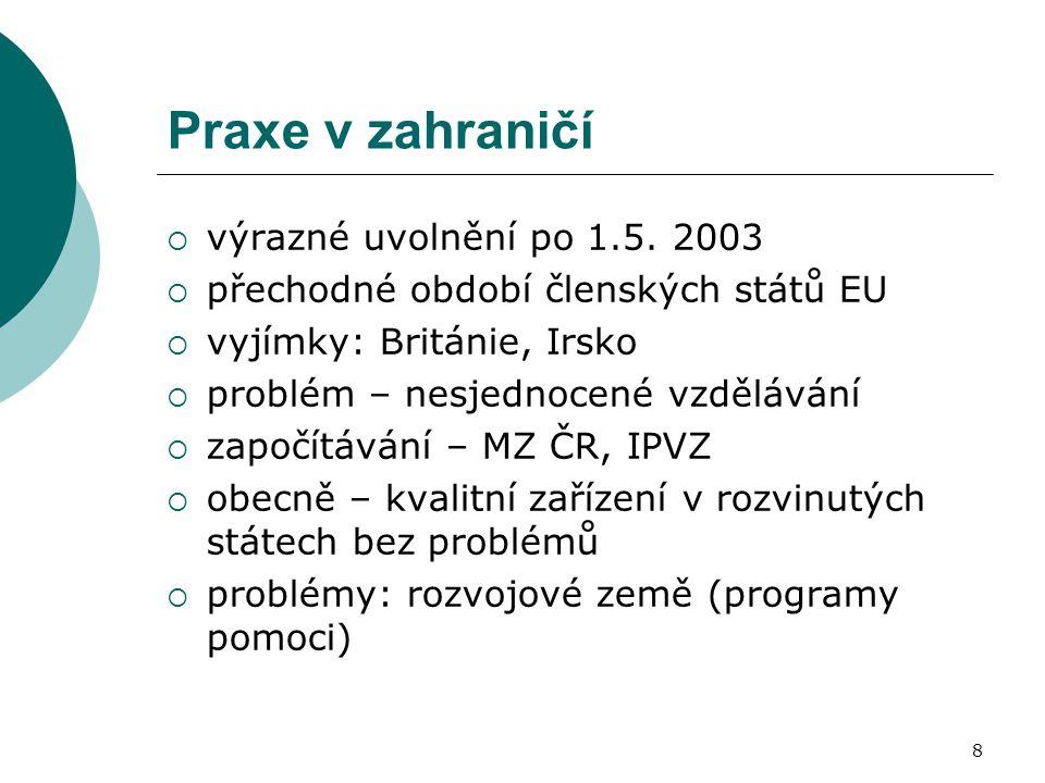 8 Praxe v zahraničí  výrazné uvolnění po 1.5. 2003  přechodné období členských států EU  vyjímky: Británie, Irsko  problém – nesjednocené vzdělává