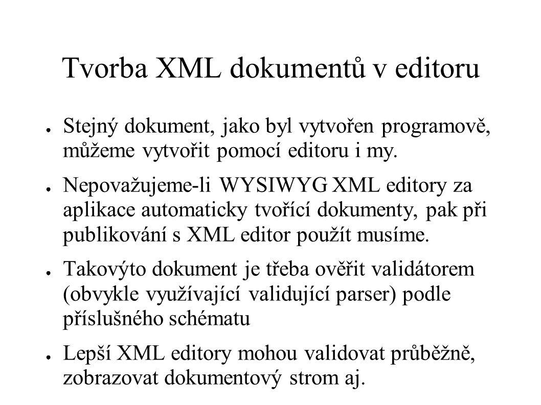 Tvorba XML dokumentů v editoru ● Stejný dokument, jako byl vytvořen programově, můžeme vytvořit pomocí editoru i my. ● Nepovažujeme-li WYSIWYG XML edi