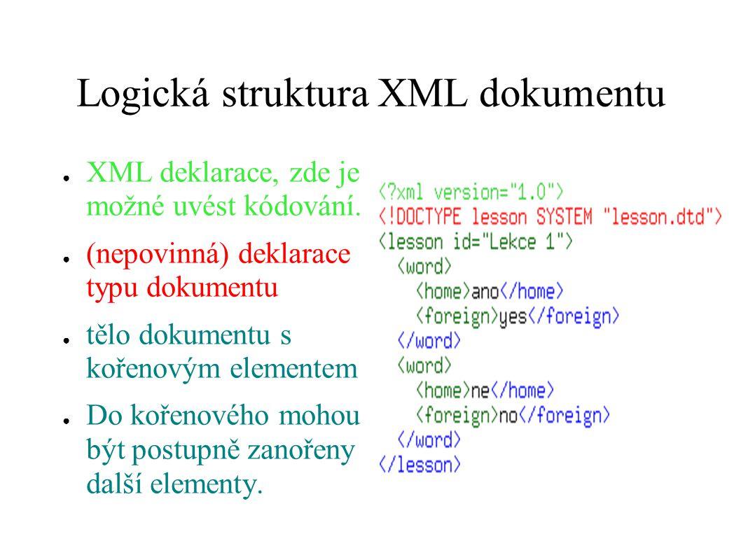 Logická struktura XML dokumentu ● XML deklarace, zde je možné uvést kódování. ● (nepovinná) deklarace typu dokumentu ● tělo dokumentu s kořenovým elem