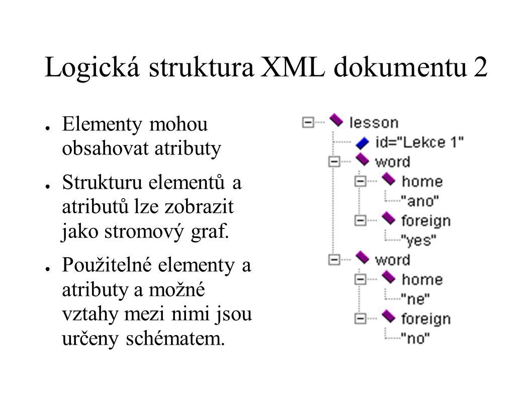Logická struktura XML dokumentu 2 ● Elementy mohou obsahovat atributy ● Strukturu elementů a atributů lze zobrazit jako stromový graf. ● Použitelné el