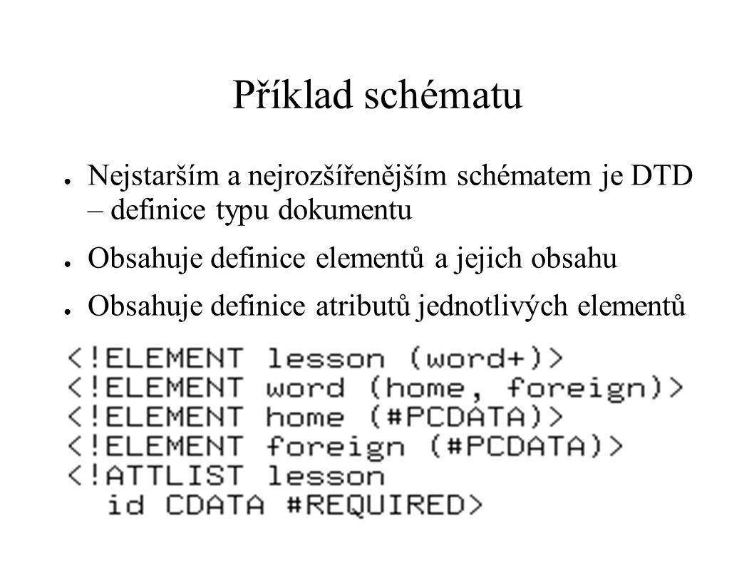 Příklad schématu ● Nejstarším a nejrozšířenějším schématem je DTD – definice typu dokumentu ● Obsahuje definice elementů a jejich obsahu ● Obsahuje de