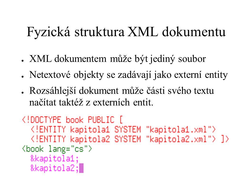 Fyzická struktura XML dokumentu ● XML dokumentem může být jediný soubor ● Netextové objekty se zadávají jako externí entity ● Rozsáhlejší dokument můž