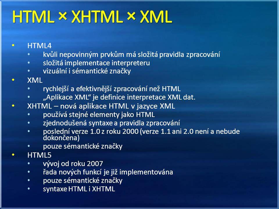 """HTML4 kvůli nepovinným prvkům má složitá pravidla zpracování složitá implementace interpreteru vizuální i sémantické značky XML rychlejší a efektivnější zpracování než HTML """"Aplikace XML je definice interpretace XML dat."""