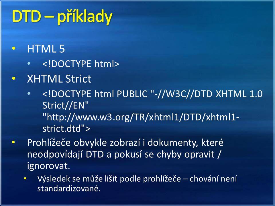 HTML 5 XHTML Strict Prohlížeče obvykle zobrazí i dokumenty, které neodpovídají DTD a pokusí se chyby opravit / ignorovat. Výsledek se může lišit podle