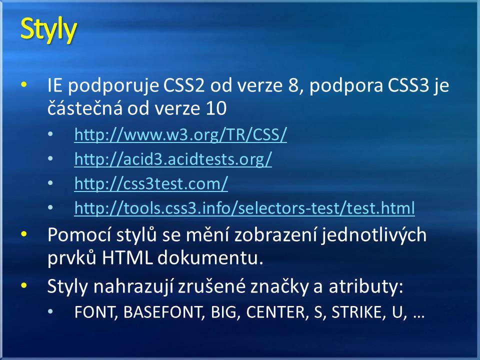 IE podporuje CSS2 od verze 8, podpora CSS3 je částečná od verze 10 http://www.w3.org/TR/CSS/ http://acid3.acidtests.org/ http://css3test.com/ http://tools.css3.info/selectors-test/test.html Pomocí stylů se mění zobrazení jednotlivých prvků HTML dokumentu.