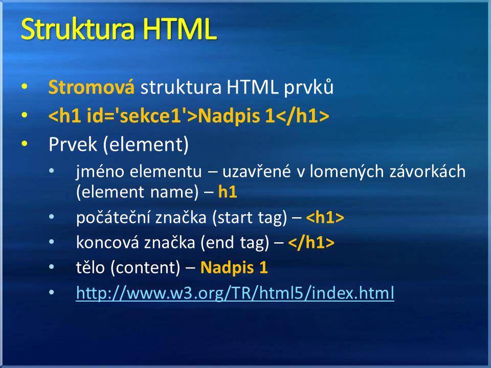 Stromová struktura HTML prvků Nadpis 1 Prvek (element) jméno elementu – uzavřené v lomených závorkách (element name) – h1 počáteční značka (start tag) – koncová značka (end tag) – tělo (content) – Nadpis 1 http://www.w3.org/TR/html5/index.html