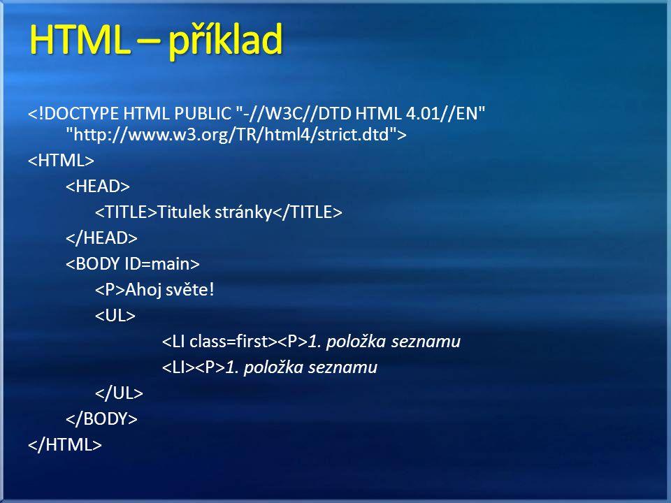 Externí soubor(y): nejvýhodnější, styl celého webu je na jednom místě odkaz pomocí selectoru (prvek, class, id) Uvnitř stránky: body {color: green}; … používá se ke zrychlení načtení stránky Inline (uvnitř HTML): … nezapisuje se selector má nejvyšší prioritu