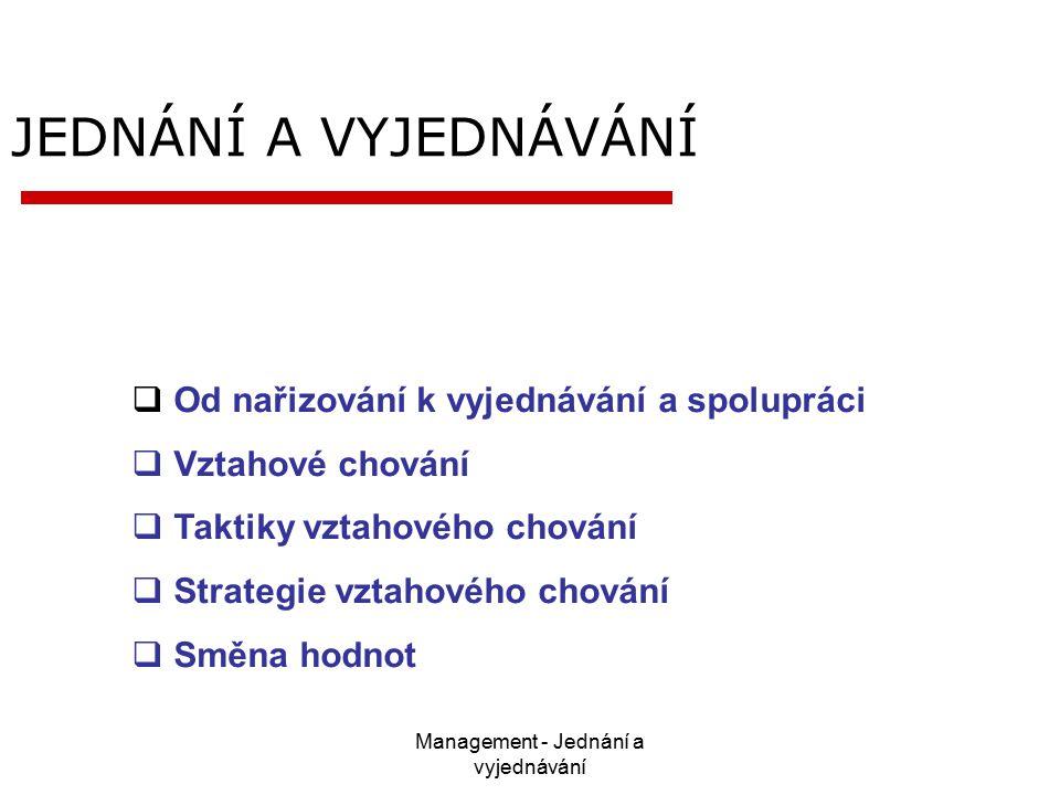 Management - Jednání a vyjednávání JEDNÁNÍ A VYJEDNÁVÁNÍ  Od nařizování k vyjednávání a spolupráci  Vztahové chování  Taktiky vztahového chování  Strategie vztahového chování  Směna hodnot