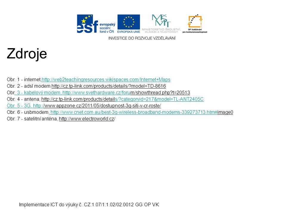 Implementace ICT do výuky č.CZ.1.07/1.1.02/02.0012 GG OP VK Zdroje Obr.