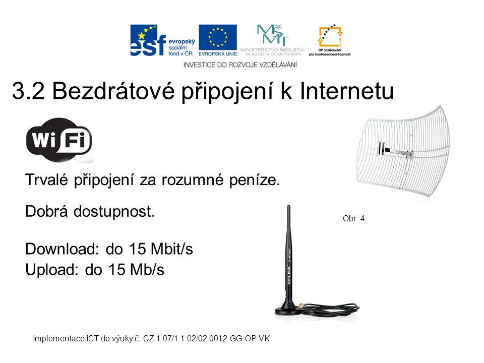 Implementace ICT do výuky č.CZ.1.07/1.1.02/02.0012 GG OP VK Trvalé připojení za rozumné peníze.