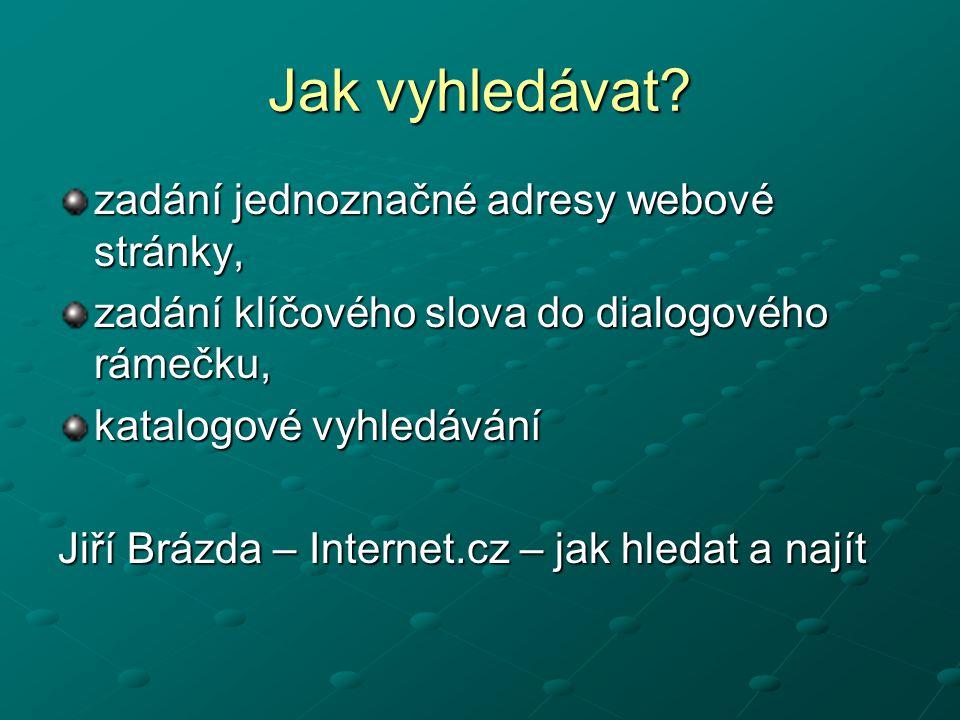 Jak vyhledávat? zadání jednoznačné adresy webové stránky, zadání klíčového slova do dialogového rámečku, katalogové vyhledávání Jiří Brázda – Internet