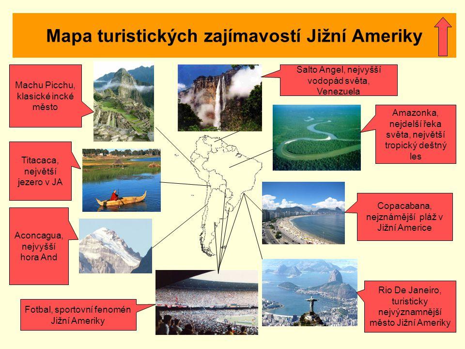 Mapa turistických zajímavostí Jižní Ameriky Salto Angel, nejvyšší vodopád světa, Venezuela Machu Picchu, klasické incké město Titacaca, největší jezer